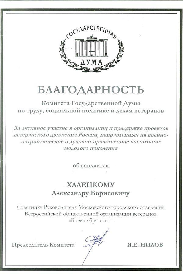 Благодарность за активное участие в организации и поддержке проектов ветеранского движения России