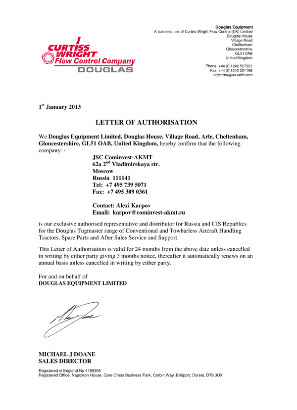 Letter of authorisation Douglas