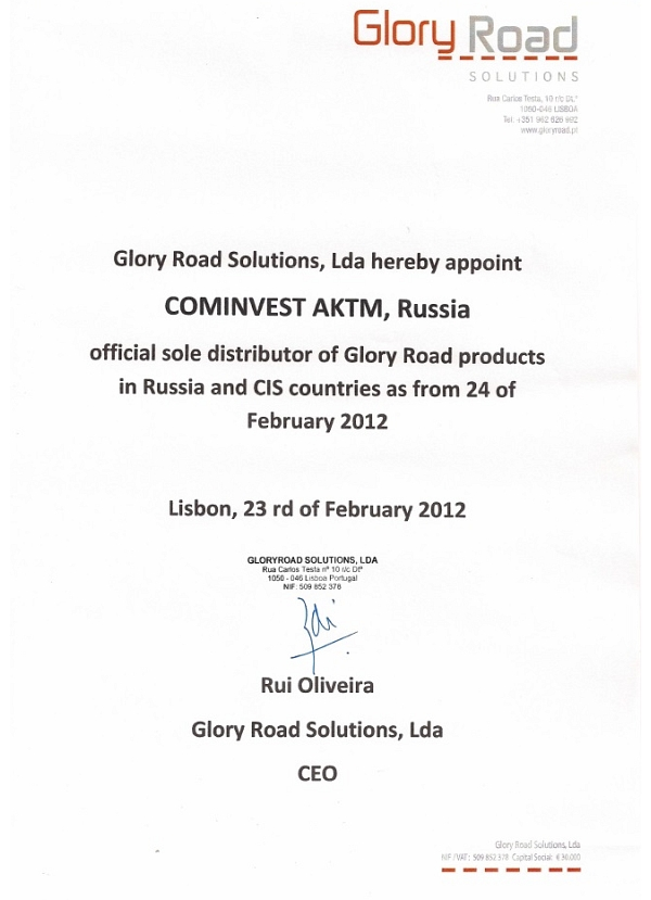 Glory Road Solutions official sole distributor